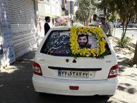 ماشین عروس مزین به عکس شهدای مدافع حرم +عکس