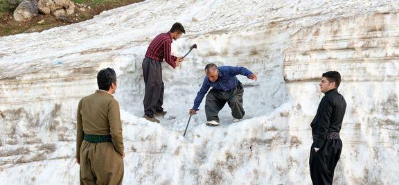 ارتفاع باور نکردنی برف در استان کردستان +عکس
