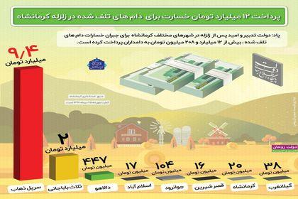 پرداخت ۱۲میلیارد تومان خسارت برای دامهای تلفشده در زلزله کرمانشاه +اینفوگرافیک