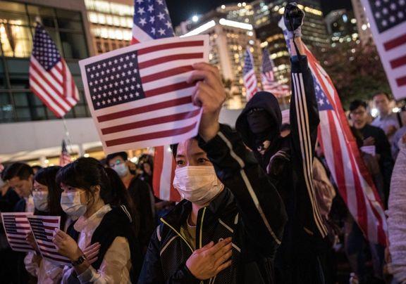 پوسترهای ترامپ، در اجتماع معترضان هنگ کنگ! +تصاویر