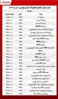 قیمت محصولات ایرانخودرو امروز ۹۹/۸/۲۹