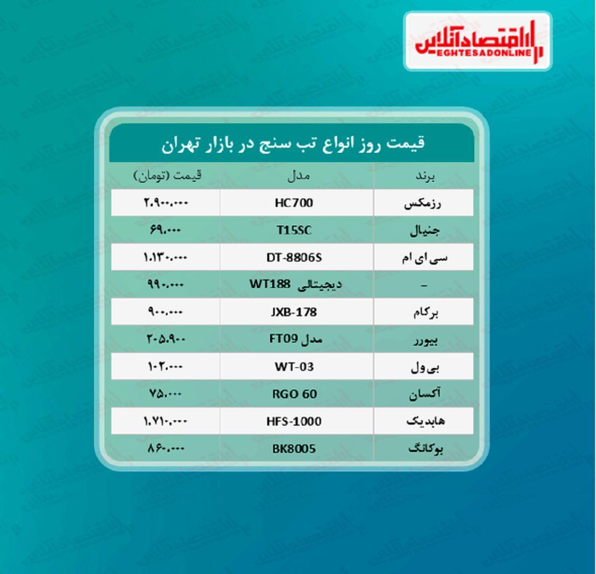 قیمت جدید انواع تب سنج (خرداد ۱۴۰۰)