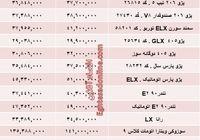 قیمت جدید محصولات ایرانخودرو +جدول