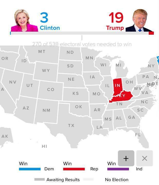 آمار رایهای الکترال ترامپ 19 کلینتون 3
