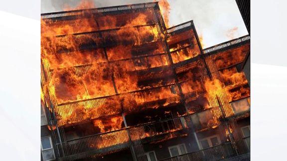 برج مسکونی شش طبقه لندن در آتش سوخت
