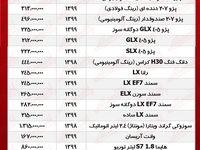 قیمت محصولات ایران خودرو امروز ۹۹/۸/۶