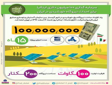 سرمایهگذاری ایتالیا برای احداث نیروگاه خورشیدی +اینفوگرافیک