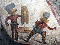 کشف دیوارنگارهای از گلادیاتورهای روم باستان +عکس