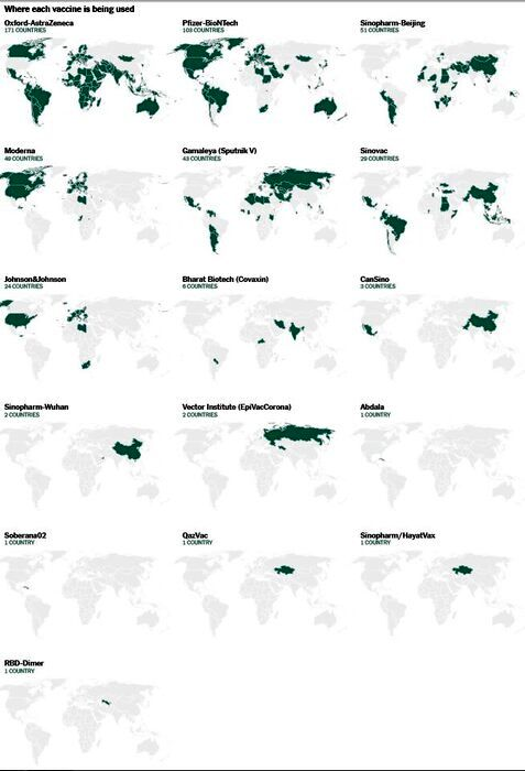 نقشه واکسیناسیون کرونا در جهان؛ تزریق ۱.۸ میلیارد واکسن تا کنون