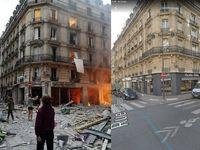 تصاویر قبل و بعد از ساختمانی که در پاریس منفجر شد