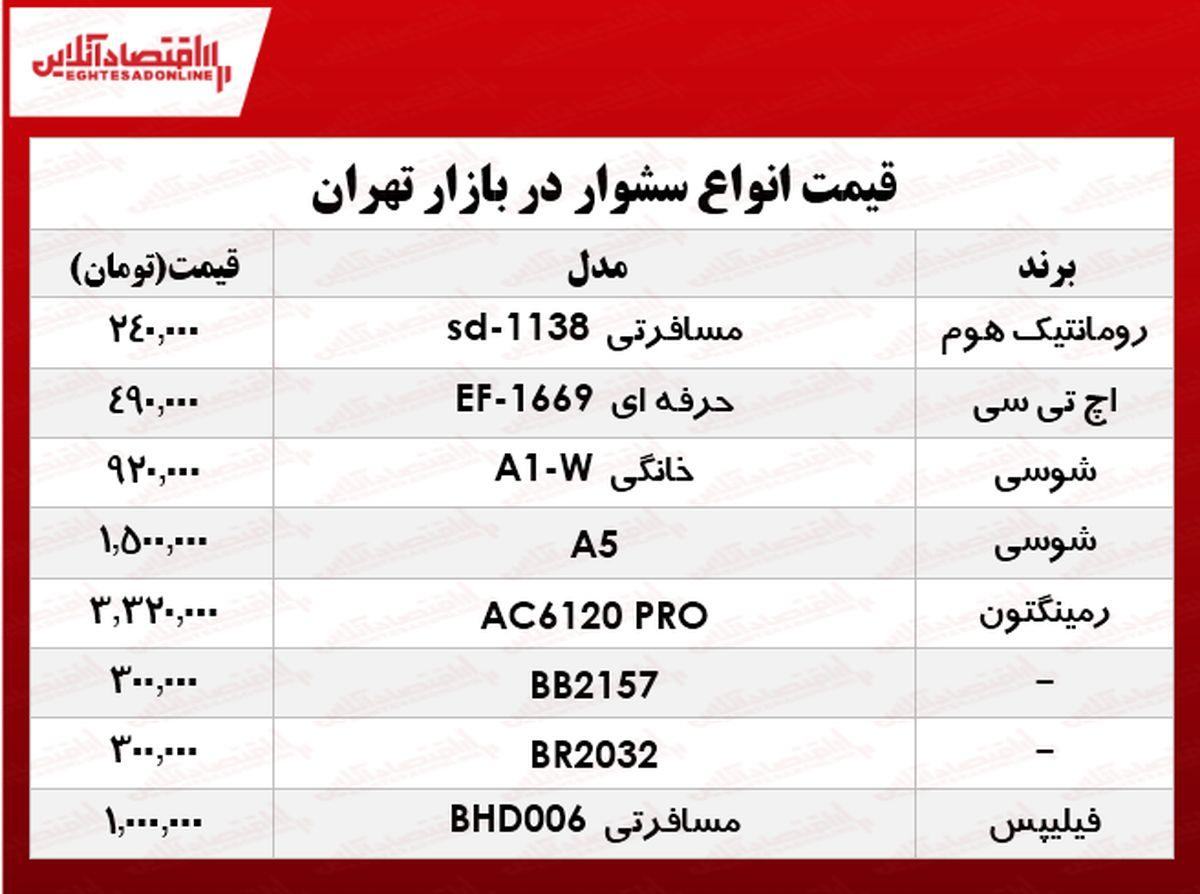 جدیدترین سشوارها دربازار تهران چند؟ +جدول