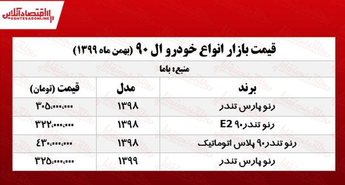 قیمت خودرو ال ۹۰ در پایتخت +جدول