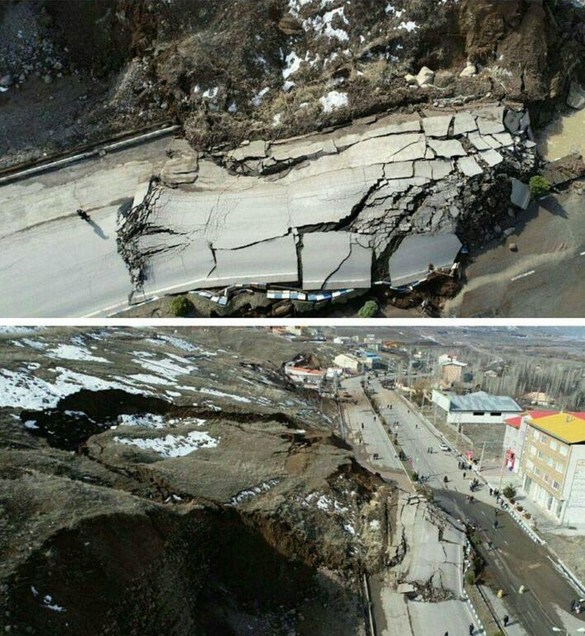 تصاویر هوایی از محل رانش زمین در طالقان