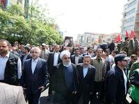 روحانی به جمع راهپیمایان روز جهانی قدس پیوست +عکس