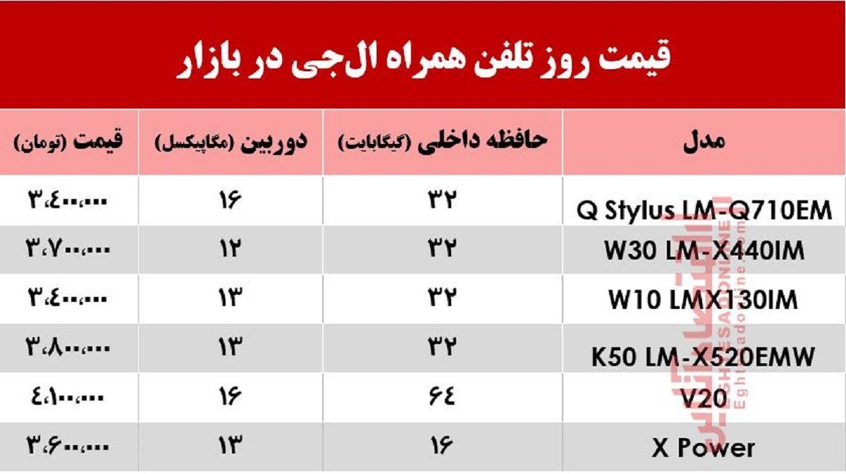 موبایل الجی چند؟ +جدول
