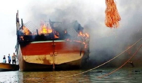 ۴مصدوم در حادثه حریق لنج ماهیگیری در بابلسر