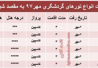 قیمت تور شیراز در مهرماه۹۷ +جدول