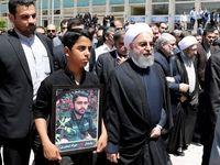 روحانی در مراسم تشییع شهدای حادثه تروریستی تهران +عکس