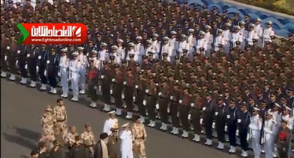لحظاتی از سان دیدن فرمانده کل قوا از یگانهای حاضر در میدان +فیلم