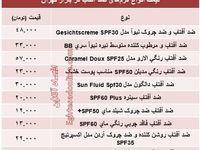 قیمت انواع کرمهای ضد آفتاب +جدول