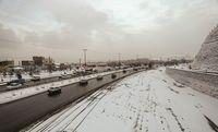 بارش برف سنگین در محور کرج چالوس +فیلم