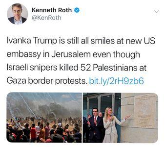 اشاره رییس دیدهبان حقوق بشر در توئیتی به جنایات اسرائیل