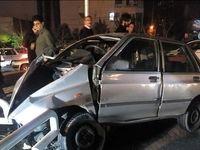 له شدن خودرو در تصادف با گاردریل +تصاویر