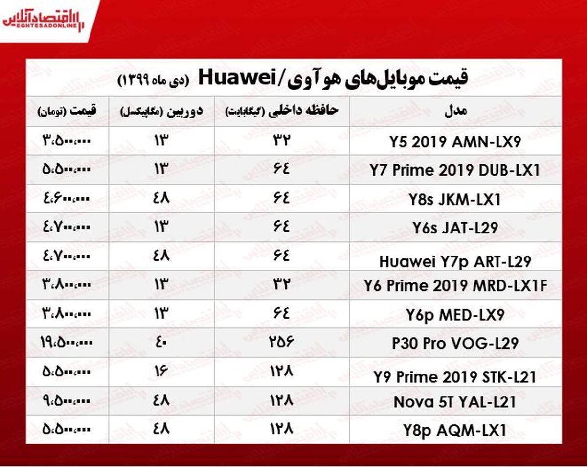 انواع موبایل هوآوی چند؟ +جدول