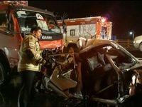 له شدن چند خودرو در تصادف بزرگراه یاسینی +تصاویر