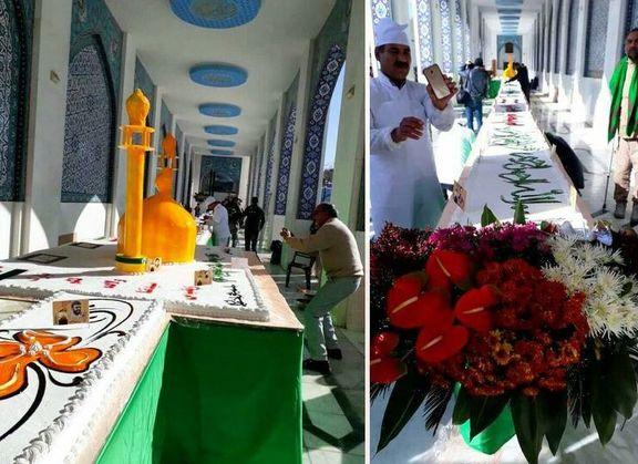 پخت کیک ۷۲متری در حرم حضرت زینب (س) +عکس