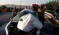 مرگ راننده و سرنشین در میان شعلههای آتش