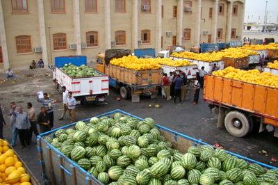 معطلی ۴۰۰کامیون حامل بار هندوانه در مرز مهران