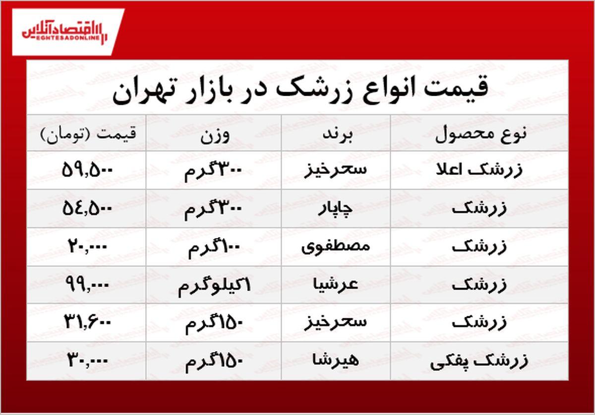 قیمت انواع زرشک در بازار تهران؟ +جدول