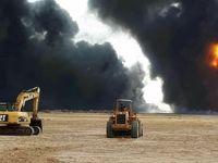حریق در خطوط لوله انتقال نفت و گاز جنوب