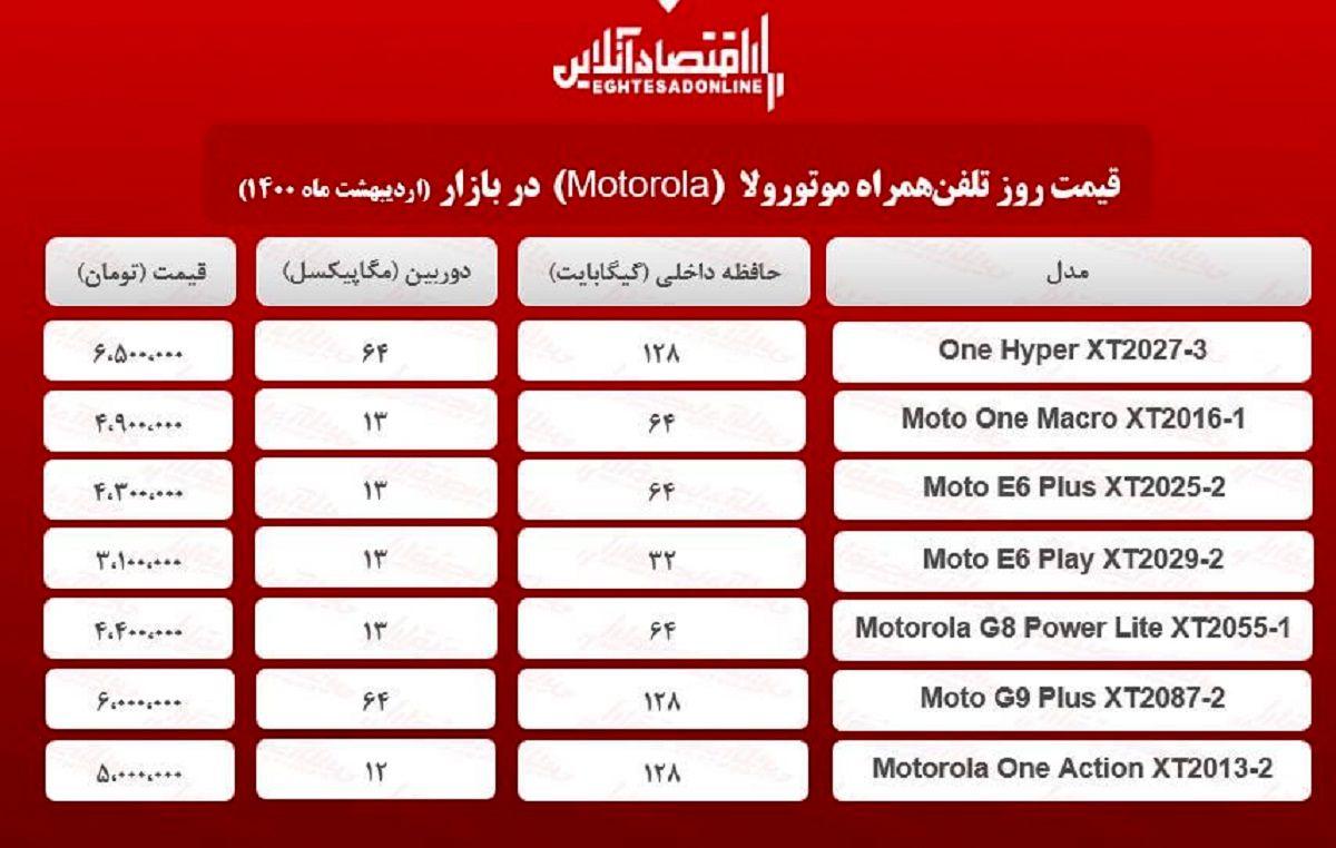 قیمت گوشی موتورولا / ۷اردیبهشت