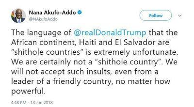 رییسجمهور غنا: آمریکا حق توهین به ما را ندارد