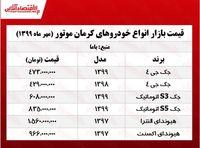 قیمت خودروهای کرمانموتور +جدول