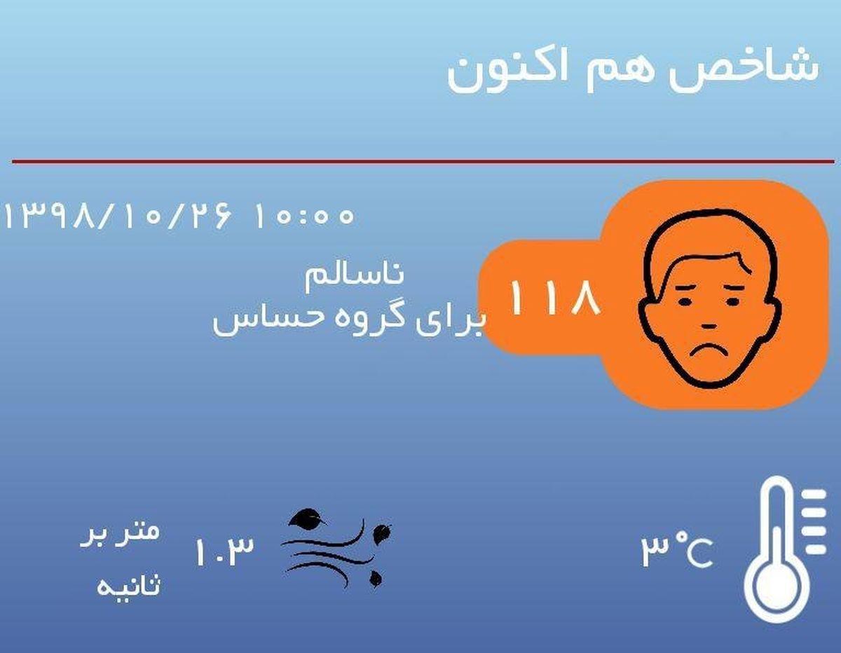 کیفیت هوای تهران با شاخص۱۱۸ در شرایط ناسالم