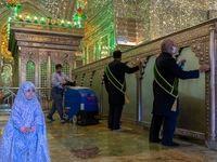 ضدعفونی کردن حرم مطهر حضرت شاهچراغ(ع) +عکس