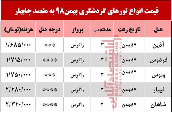تور 4روزه چابهار چند تمام میشود؟
