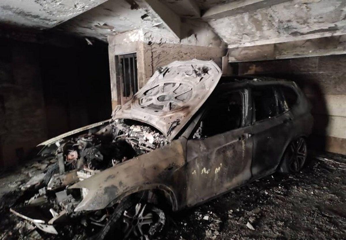 سوختن کامل BMW در آتش +عکس