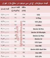 قیمت انواع موبایلهای اچ تی سی در بازار +جدول