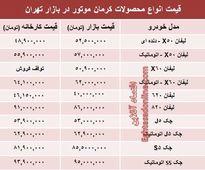 قیمت جدید محصولات کرمان موتور +جدول