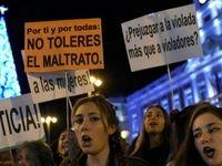 تظاهرات مردم اسپانیا در روز جهانی زن +فیلم