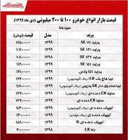 خودروهای ۱۰۰ تا ۲۰۰ میلیونی بازار تهران +جدول