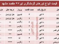 هزینه سفر به مشهد در تیر۹۷ +جدول