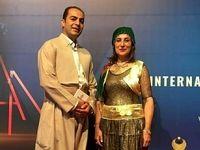 بازیگر ایرانی با لباس کردی در جشنواره سلیمانیه +عکس