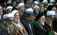 احمدی نژاد در اقامه نماز بر پیکر آیتالله شاهرودی +عکس