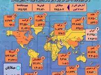 آمار رسمی مبتلایان به کرونا در جهان تا ۱۲فروردین