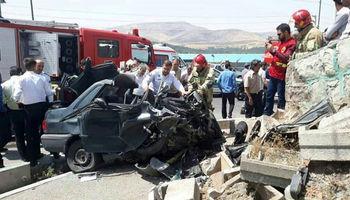 مرگ راننده جوان در پراید متلاشی شده +عکس